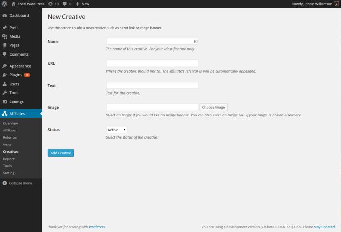 Add new Creative screen