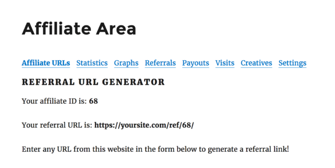 Affiliate Area - Affiliate URLs