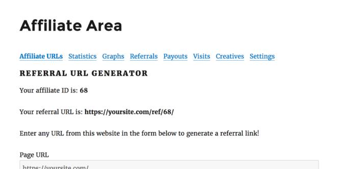 Affiliate Area - Affiliate URL Generator