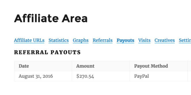 Affiliate Area - Payouts