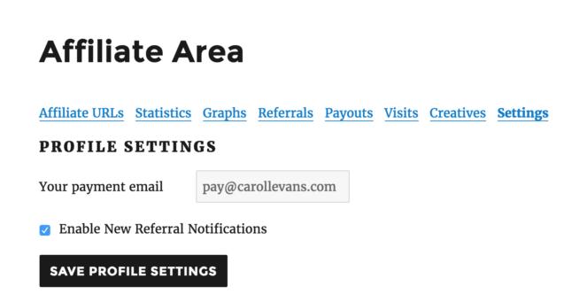 Affiliate Area - Settings
