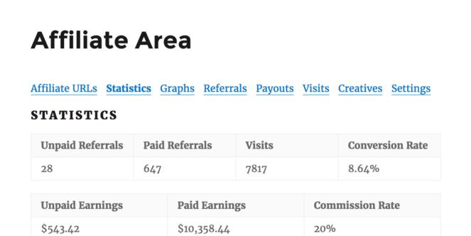 Affiliate Area - Statistics