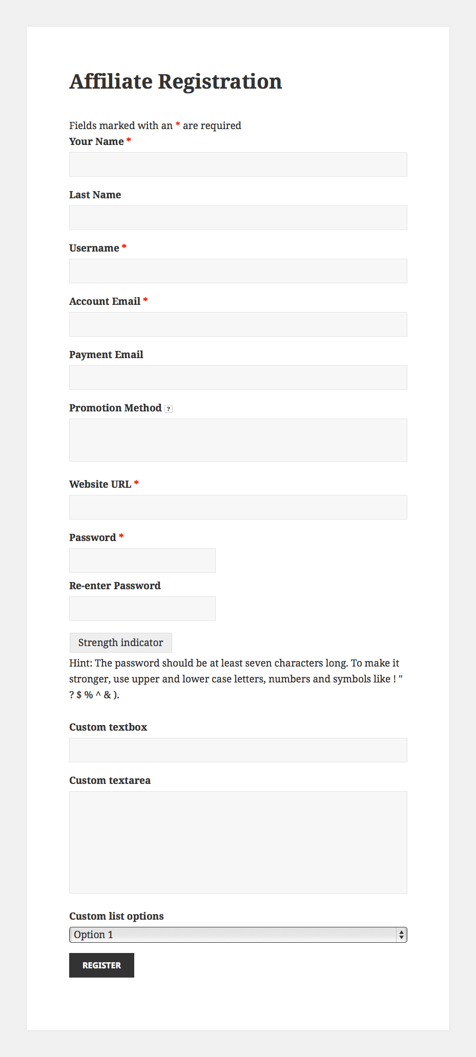 Create an advanced affiliate registration form using Ninja Forms