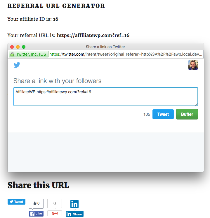 The sharing networks all receive the new sharing URL the affiliate created with their referral link appended