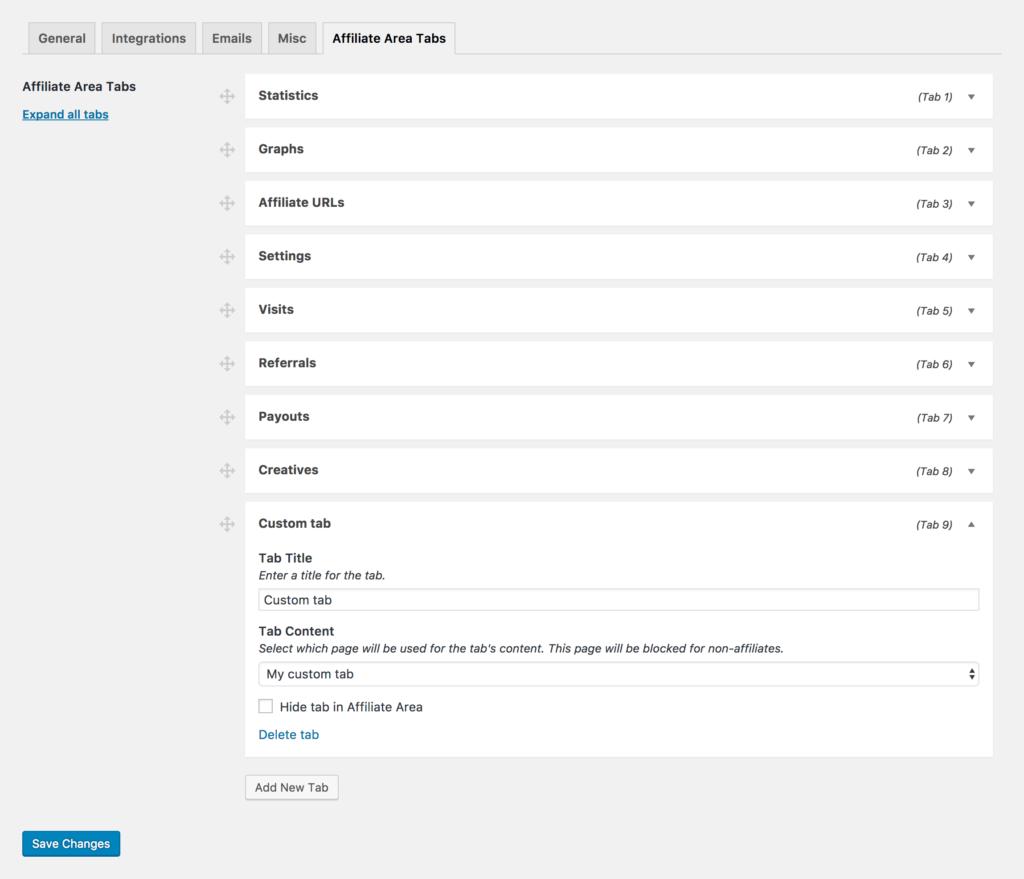 Affiliate Area Tabs sports a simple admin interface