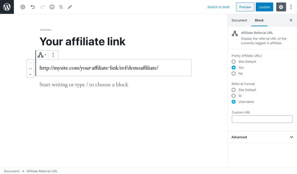 The WordPress editor showing the Affiliate Referral URL block