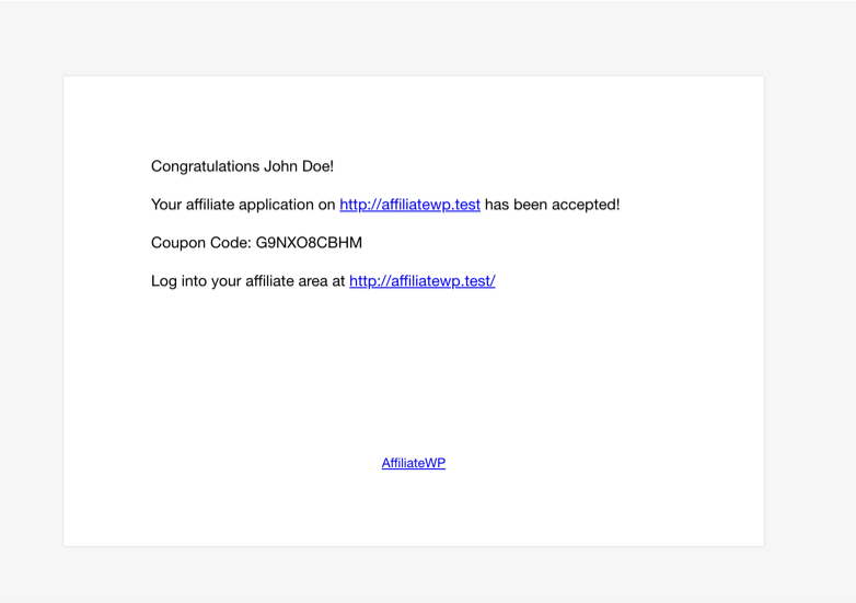 Dynamic affiliate coupon in affiliate application accepted email