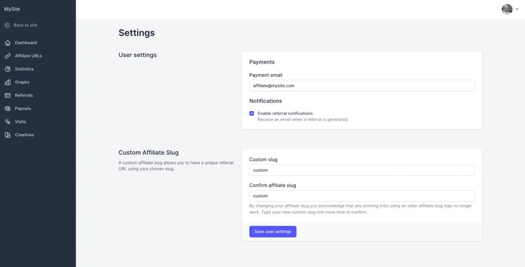 Screenshot - Affiliate Portal - Modify custom affiliate slugs