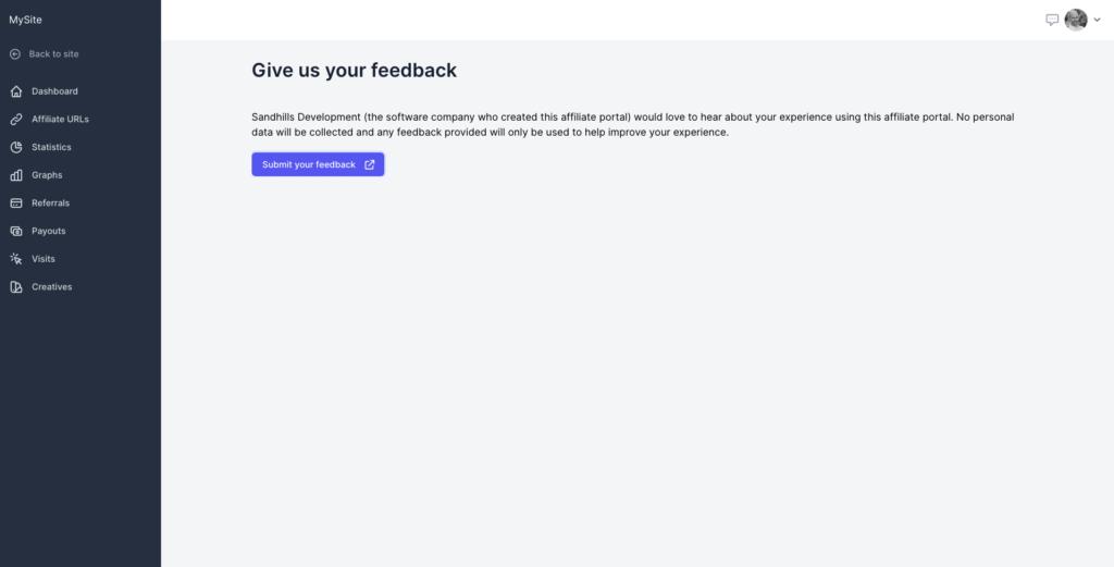 Screenshot - Affiliate Portal feedback option