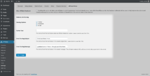 Screenshot - WP-admin, referral link sharing setup