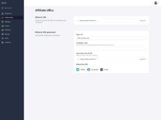 Screenshot - Affiliate Portal: Affiliate URLs
