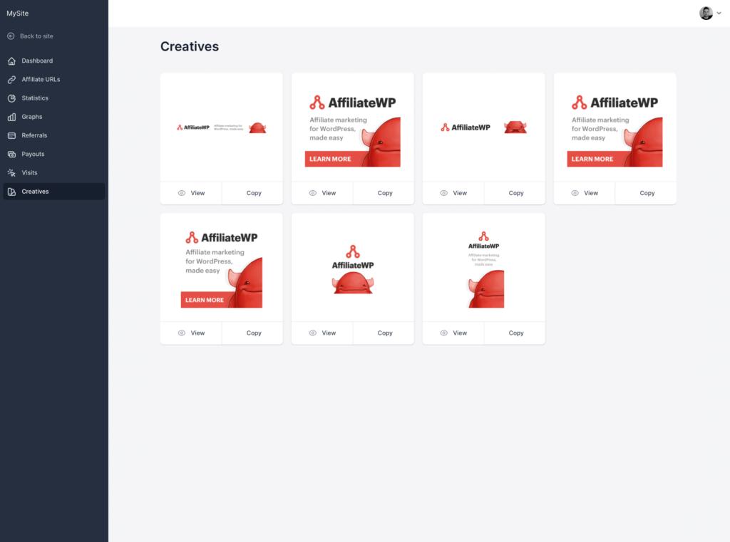 Screenshot - Affiliate Portal: Creatives