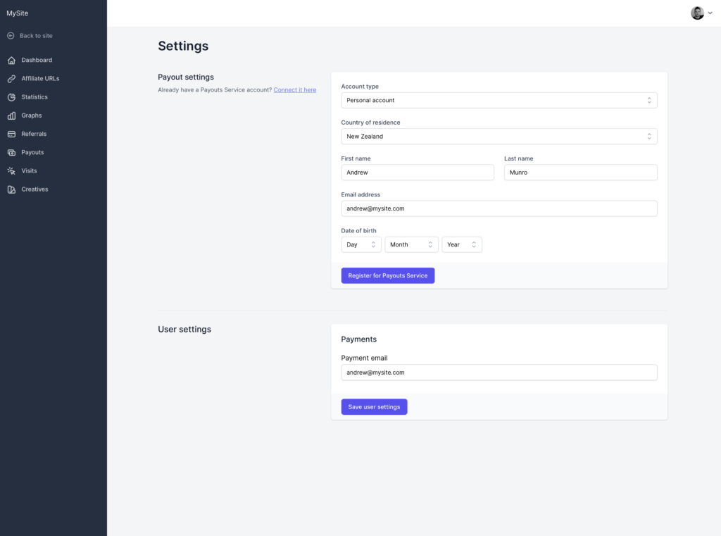 Screenshot - Affiliate Portal: Settings