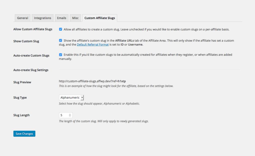 The admin settings for the Custom Affiliate Slugs add-on