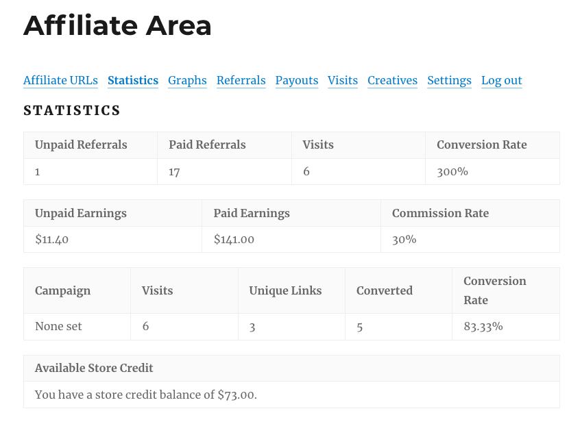 screenshot of affiliate area statistics tab showing stored credit balance