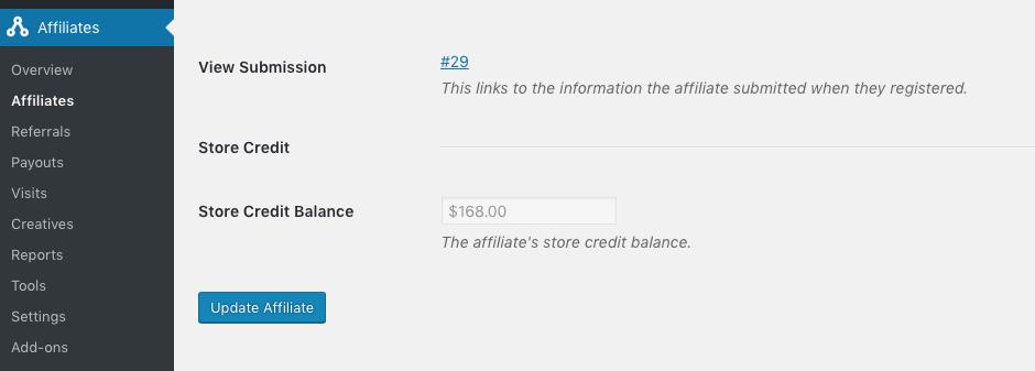 screenshot of affiliate edit screen showing store credit balance