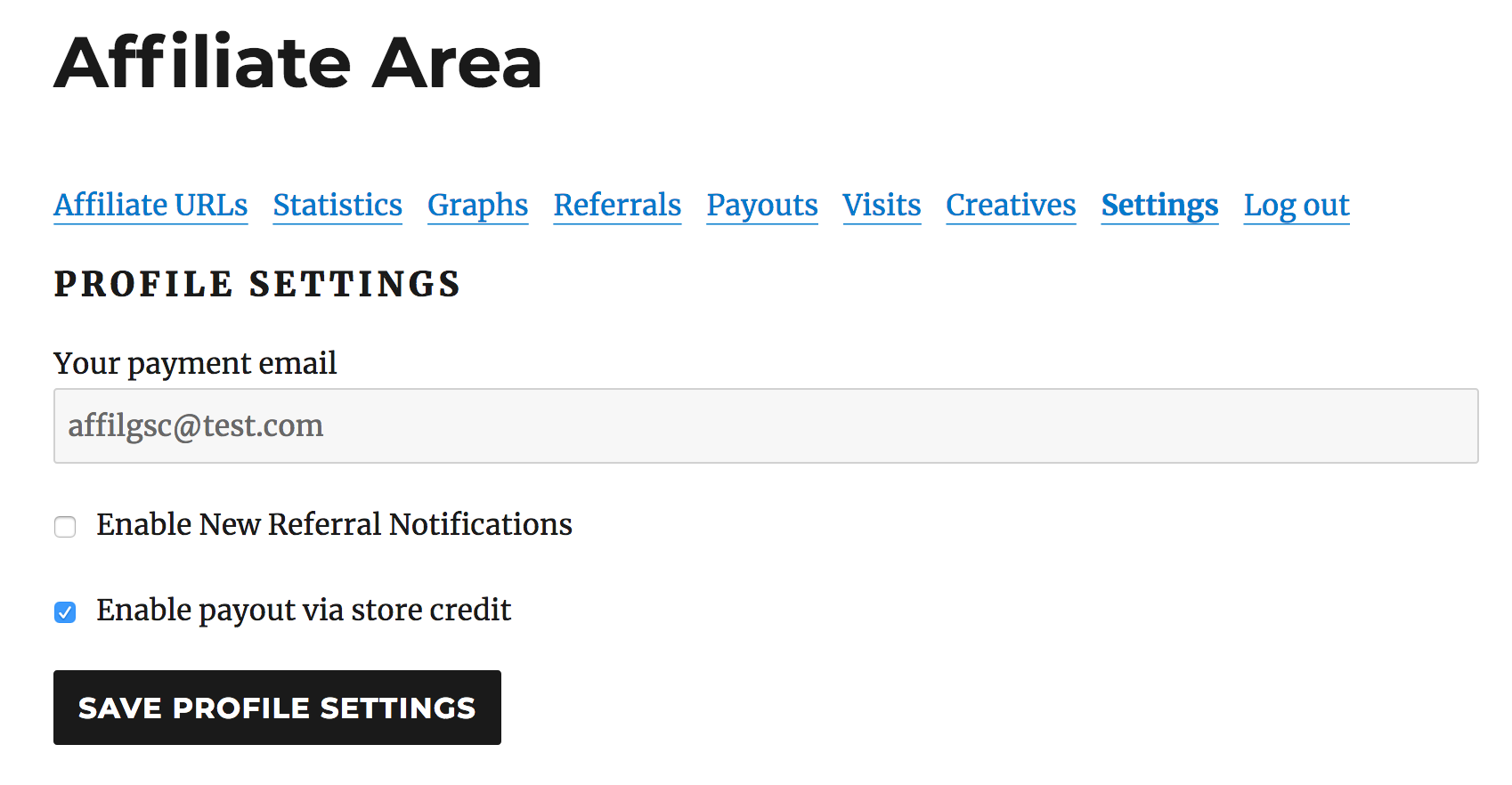 affiliate area settings to opt-in for Store Credit