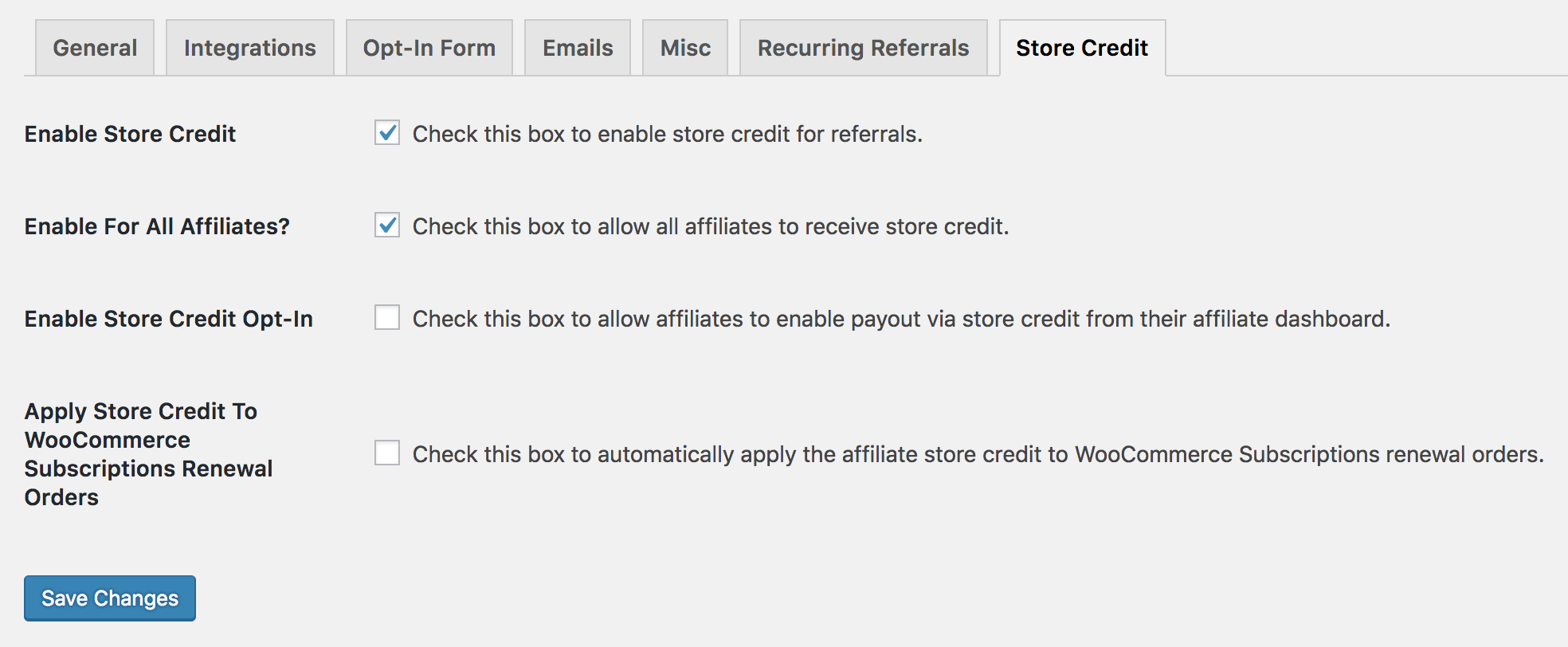 Settings page for Store Credit add-on