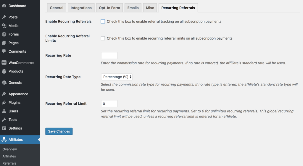 Settings for Recurring Referrals add-on