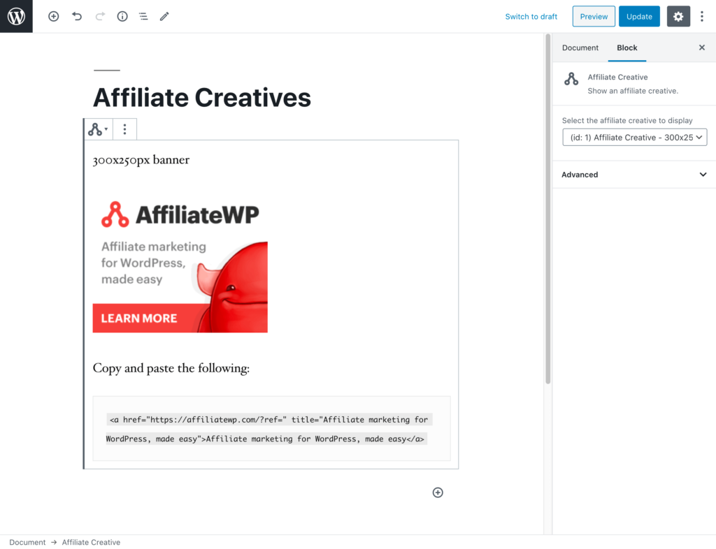 The WordPress editor showing the Affiliate Creative block