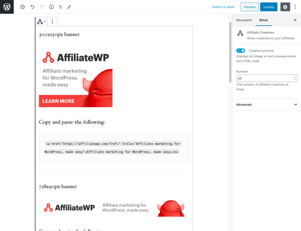 The WordPress editor showing the Affiliate Creatives block