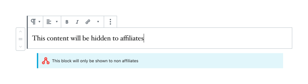The WordPress editor showing the Non Affiliate Content block