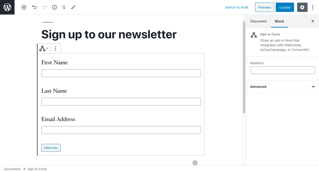 The WordPress editor showing the Opt-in Form block
